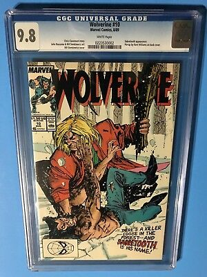 1989 WOLVERINE # 10 CGC 9.8 White Pages, Sabretooth Cover & Flashback Story!