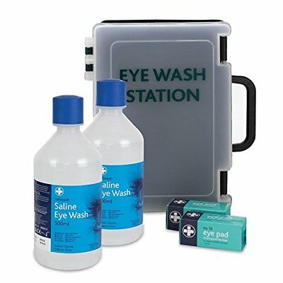 Double Eye Wash Station Complete Kit Medical Supplies Deluxe Box Wall Mounted