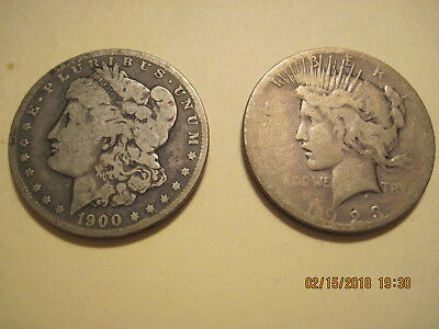 1900 Morgan and 1923 Peace silver dollars, No Reserve
