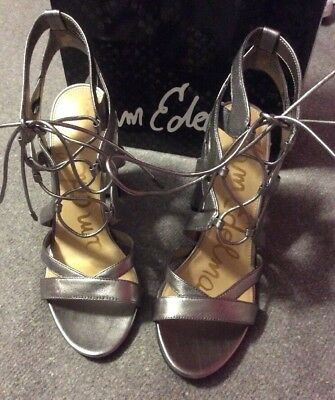 8007d52036e8a Sam Edelman Yardley Sz 10 Metallic Silver Leather Strappy Sandals Heels  Shoes