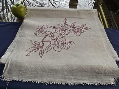 Antique Victorian Chic Rustic Linen Bath Towel 16x68 Redwork Embroidery Dogwood
