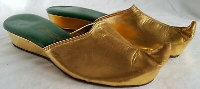 1950s DEADSTOCK Gustinettes Gold Arabian Nights Slippers Size 5.5M