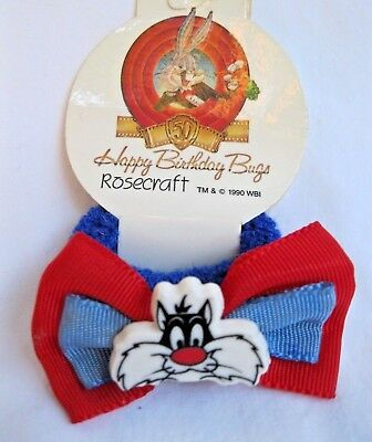 Vtg New Rosecraft 1990 Happy Birthday Bugs Sylvester The Cat Ponytail Holder Nos