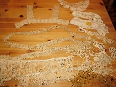 Vintage Cotton Lace Trim Lot, Bodice Crochet, Eyelet Collar and Cuffs, Fringe