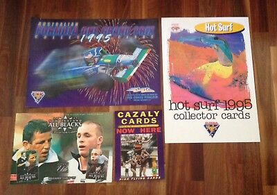 Futera F1 Formula 1, All Black Rugby, Hot Surf, Afl Cazaly Card Promo Posters X4