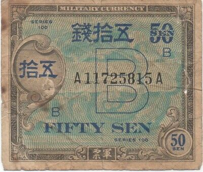 ALLIED MILITARY CURRENCY Zone B Japan 50 Sen / Good for beginners