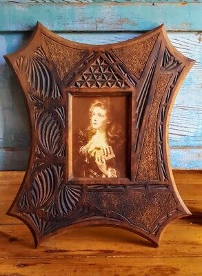 Chip carved Kauri frame (prob.1920's) with print