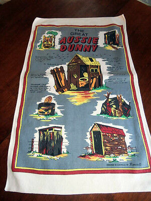 Vintage The Great Aussie Dunny cotton tea towel 18 by 30