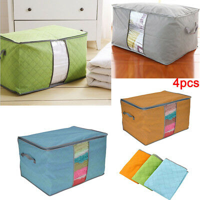 4PCS Clothes Blanket Storage Bag Charcoal Bamboo Organizer Foldable Zipper Box
