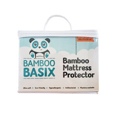 Bamboo Cot Mattress Protector - Fitted - 132 x 71 x 22cm - Absorbent, Waterproof
