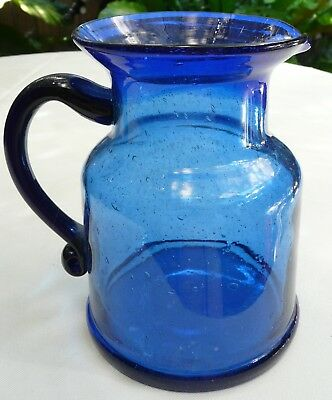 Stunning Vintage Cobalt Blue Glass Water/Juice Jug with Bubble Effect