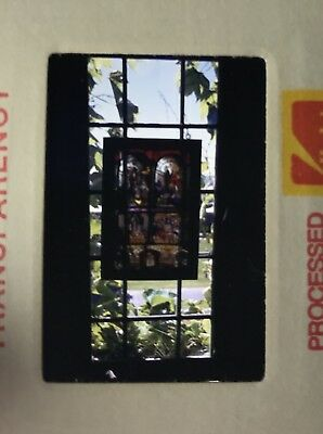 Vintage Photo Slide Kodachrome June 1973 Stained Glass Religious Christian