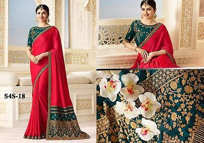 Indian Designer Heavy Embroidered Party wear Red Bridal Saree's
