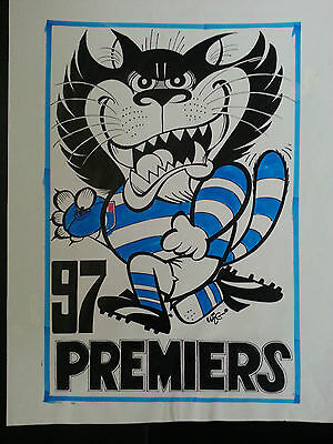 1997 original weg inked signed concept premiers poster for Geelong Cats