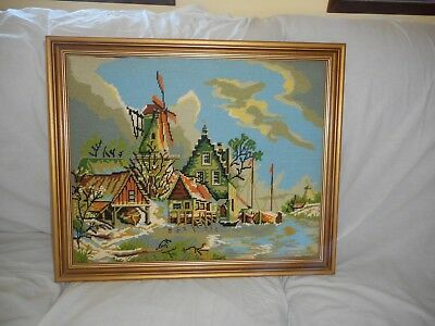Professionally Framed Tapestry Of A Dutch Village