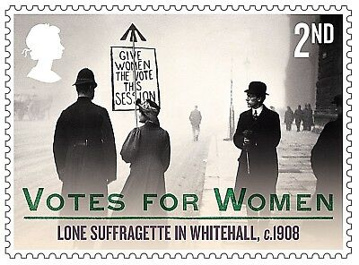 'Votes For Women - Lone Suffragette in Whitehall c.1908' on 2018 stamp