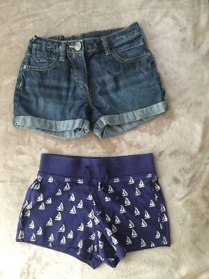 Next Girls Summer Shorts, Denim, Nautical / Boats, Age 7 Years, Combined Postage
