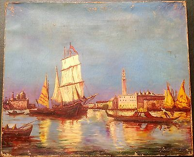 Price Dropped!! AUTHENTIC ANTIQUE ITALIAN PAINTING 1900s GRAND CANAL VENICE