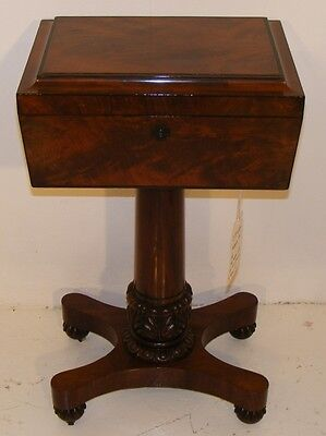 Good Quality Antique Mahogany & Inlaid Teapoy With Mixing Jars
