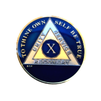 AA Blue 10 Year Coin Tri-Plate Alcoholics Anonymous Medallion Sobriety Chip