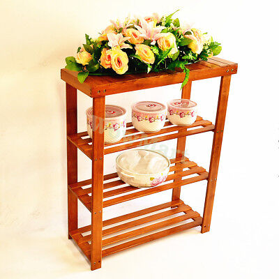 New Bamboo Multi-function 4-Tier Home Storage Shelf Book Shoes Phone Rack #DHJ70