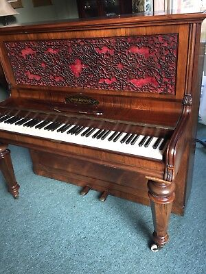 Antique Victorian George Rogers & Co rosewood and mahogany upright piano