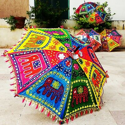5 pcs Henna Art Decorative Umbrella Folding Parasol Ethnic Elephant Embroidered