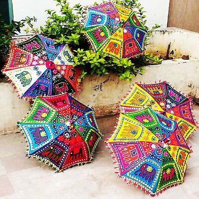 5 pc Henna Ethnic Elephant Embroidered Folding Parasol Tent Decor Boho Umbrella