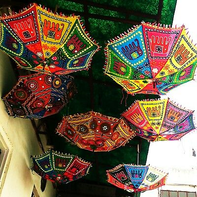 5 pc Indian Ethnic Elephant Embroidered Folding Parasol Boho Tent Decor Umbrella