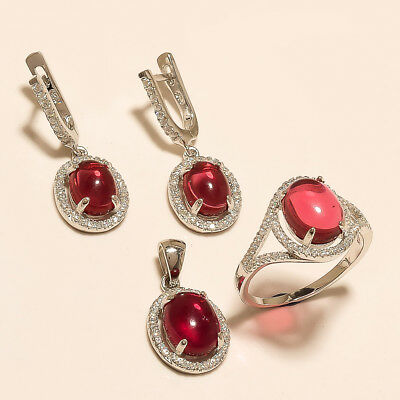 Natural Egyptian Red Spinel 925 Sterling Silver Engagement Christmas Jewelry Set
