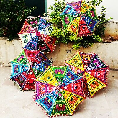 5 pc Jaipur Mehendi Brolly Decor Elephant Embroidered Umbrellas Folding Parasols