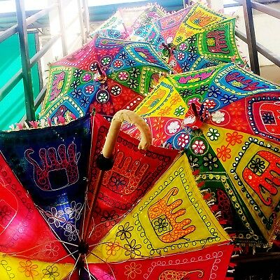 5 pc Indian Event Decor Sunshade Elephant Embroidered Umbrellas Ethnic Parasols