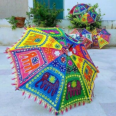10pc Jaipur Vintage Elephant Embroidered Folding Parasols Hippie Decor Umbrellas