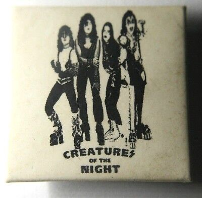 KISS Creatures Of The Night Square Pin Badge Unusual Rare(NOT shirt patch lp)