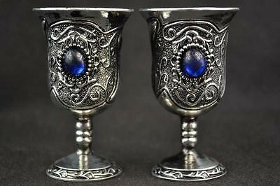.Decorated Handwork Miao Silver Carving Flower Inlay Blue Bead Wine Cup