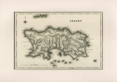Jersey Reproduction Mounted Map S Lewis County Maps England & Wales 1848