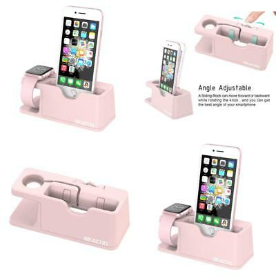 Apple Watch And iPhone Charging Dock Stand iWatch Charger Holder Bracket Pink US