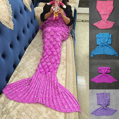 140*70cm Mermaid Tail Crochet Blanket Sofa Rug Knit Handmade Soft Sleeping Bag