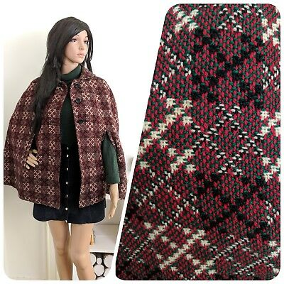 Vintage 60s Welsh Tapestry Wool Pink Red Geometric Button Cape Coat S M 8 10
