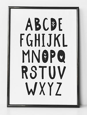 Alphabet ABC Learning Picture Black & White Kids Room Nursery Wall Art Print