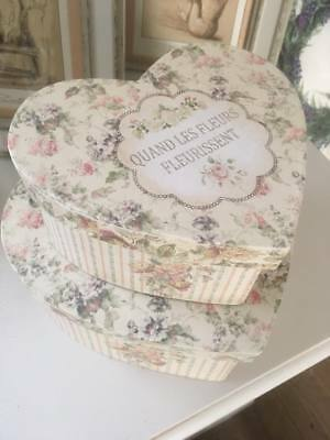 Set of 2 French Vintage Style Heart Shape Boxes~Storage~Decorative~Home Decor