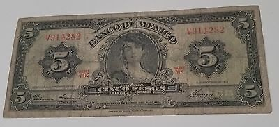 Mexico 1951 5 Pesos paper banknote from MK Series