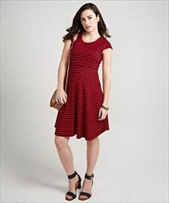 Mothercare Blooming Marvellous Maternity Striped Skater Dress Red + Navy Size 18