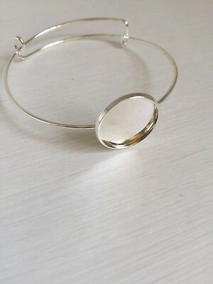 1 pc 20mm Round Bangle Bracelet Blank Tray Cabochon Cameo Base bezel (285)