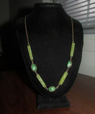 Vintage Art Deco Necklace Green Tiger's Eye Beads & Marble Circa. 1920's