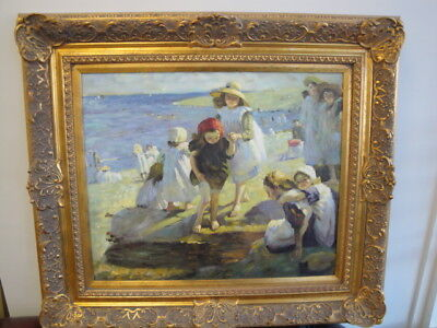 Vintage Original Oil On Canvas Impressionist Painting Children On Beach