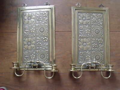 Aesthetic Movement Arts Crafts Embossed Brass Candle Wall Lights Lamps