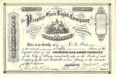 NEW YORK 1873, Peoples Gas Light Co of the City of Albany Stock Certificate