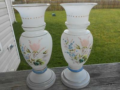 Pair Bristol Glass Hand Blown Vases Painted Flowers  EUC #2