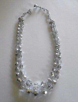 Faceted Silver Crystal & Aurora  Necklace Double Strand Graduated Glass Beads